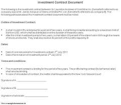 investor contract template 6 investor agreementreport template