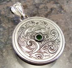 pendant engraving jewelry engraved nouveau silver scrollwork with
