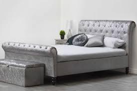 Velvet Sleigh Bed St Silver Crushed Velvet Fabric Upholstered Sleigh Diamante