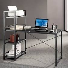 Shelf Computer Desk Glass Top Computer Desk Visualizeus