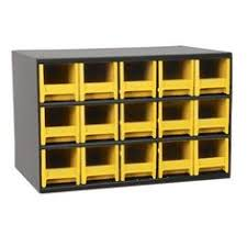 Yellow Storage Cabinet Metal Small Parts Cabinet 28 Plastic Drawers With Clear View