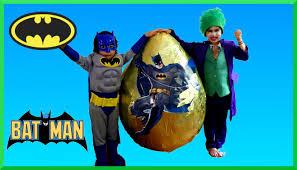 giant egg surprise opening batman vs joker superhero toys kids