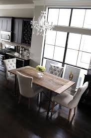 Light Dining Chairs Amazing Rustic Gray Dining Room Table With Light Gray Linen Tufted