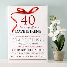 Ruby Anniversary Invitation Cards Personalised Ruby Wedding Anniversary Typography By Cherry Pete