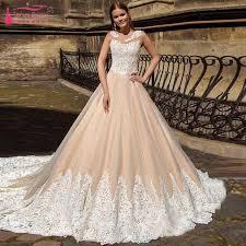 Lace Wedding Dresses Aliexpress Com Buy Blush Pink A Line Lace Wedding Dresses O Neck