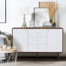 mid century modern kitchen storage cabinet erommy sideboard buffet cabinet tv stand mid century modern console table with 2 cabinets and 3 drawers adjustable shelves entryway cupboard for