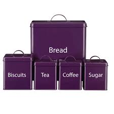 Purple Canister Set Kitchen by 5 Piece Kitchen Storage Set Includes Bread Bin Biscuit Tea Coffee