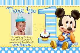 mickey mouse 1st birthday thank you cards printable mickey mouse