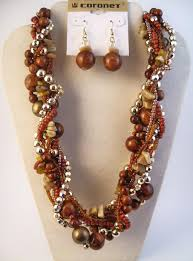 large bead necklace images Brown gold twisted multi layers large beads necklace earrings jpg