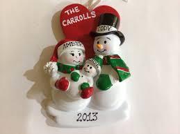 personalized christmas ornament snowman couple proud new parents