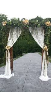 wedding arch lace white wood wedding arch decorated with flowers and sheer curtains