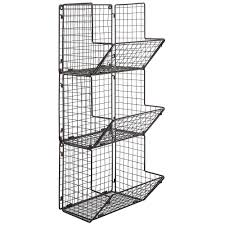 Metal Wire Storage Shelves Wall Mount Rack Fruit Basket Holder Storage Metal Wire 3 Tier Bin