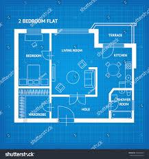 apartment floor plan blueprint furniture top stock vector
