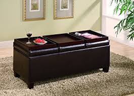 padded coffee table cover amazon com coaster storage ottoman coffee table with trays brown