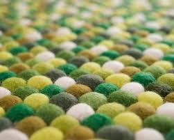 Nepal Felt Ball Rug Rectangle Green White Felted Balls Carpets Nepal Clearance Sale