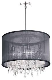 Black Traditional Chandelier Crystal Chandelier With Black Drum Shade U2013 Eimat Co