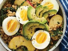 egg boiled farro bowl with kale apples and egg recipe self