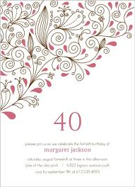 pink floral 40th birthday party invitation 40th birthday invitations