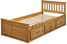 Cabin Bed Frame Beds 3ft Pine Captains Bed With Underbed 2 X Sprung Mattresses