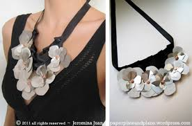 metal flower necklace images Metal flower bib necklace paper plate and plane jpg