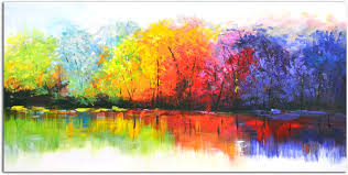 omax decor reflective rainbow trees painting on canvas reviews