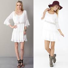 a night in spain tiered white bohemian crochet dress mini 3 4