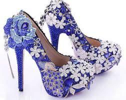 Peacock High Heels Blue Crystal Heels Etsy