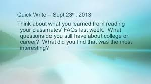 find college classmates write sept 23 rd 2013 think about what you learned from