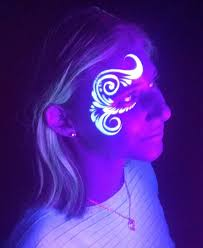 flower on eye side designs idea face paint for glow in dakr zestymag