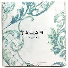 Turquoise Paisley Curtains Amazon Com Tahari Home Fabric Shower Curtain Chinoisserie Damask