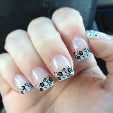 gel nails white tip with black stamp nails pinterest