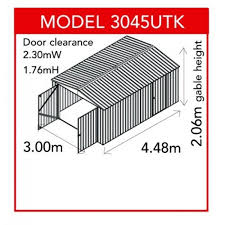 Absco Awning Absco Colorbond Double Door Utility Shed 3 00m X 4 48m X 2 06m