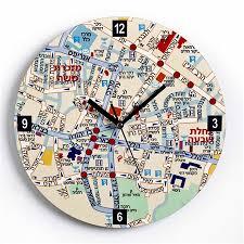themed wall clock buy center of jerusalem map wall clock israel catalog