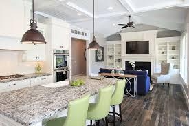 big kitchen island ideas polished black wooden floorboard simple