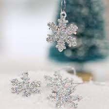miniature silver glitter snowflake ornaments