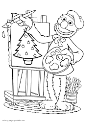 grover painting a christmas tree