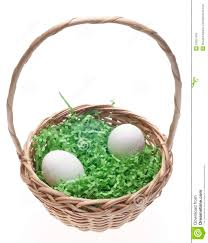 easter basket grass easter basket with grass and two white eggs stock image image