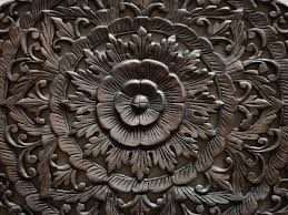 thai traditional lotus carved wood wall panel siam sawadee
