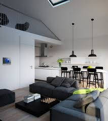 modern kitchen living room triple d modern monochrome green apartment living dining kitchen