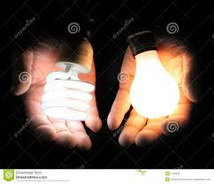 Led Light Bulb Vs Incandescent by Comparing Fluorescent And Incandescent Light Bulbs Royalty Free