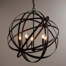large metal orb chandelier geometric designs industrial style