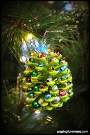beaded pinecone tree ornament paging mums