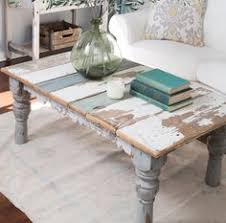 Weathered Coffee Table Rustic Distressed Coffee Table With Aqua Color Pop Distressed