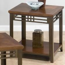 Wood And Metal End Table Jofran Barrington Cherry End Table With Shelf Inlay Wood Top