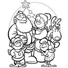 santa family selebrating christmas coloring page santa family