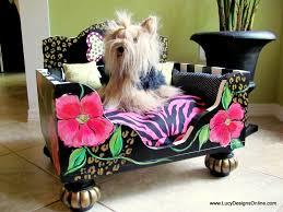 hand painted dog bed luxury designer floral animal print dog bed