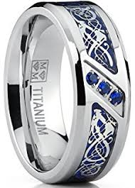 blue titanium wedding band 9mm cobalt men s ring wedding band with blue sapphire real stones