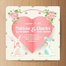 rabbit invitation wedding invitation card templates character rabbit bri