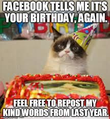 Birthday Memes For Facebook - grumpy cat birthday meme imgflip