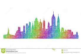 new york city skyline silhouette multicolor line art stock